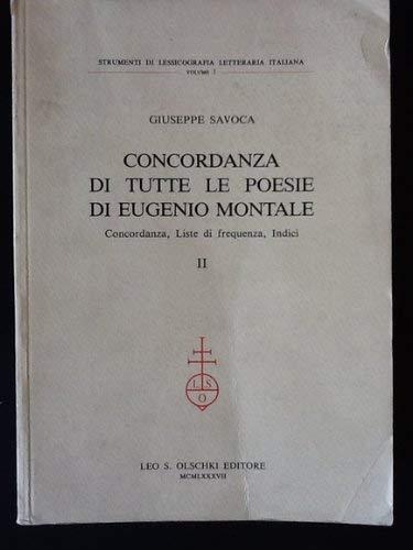 Concordanza di tutte le poesie di Eugenio Montale. Concordanza, liste di frequenza, indici. (2 voll.)
