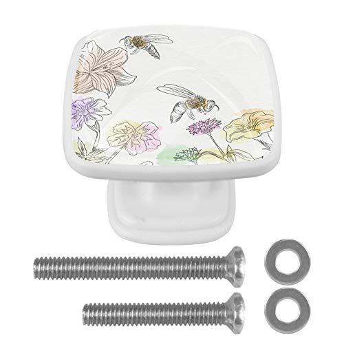 Con tornillos para cocina, aparador, armario, baño, pomos para armarios de cocina, pomos de armario de cristal transparente de 1.18 pulgadas de diámetro, dibujados a mano, abejas y flores - 01