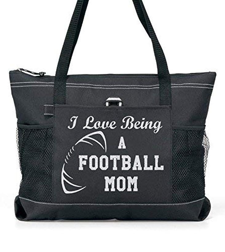 Football Mom Silver Glitter design tote Bag. (ILB)