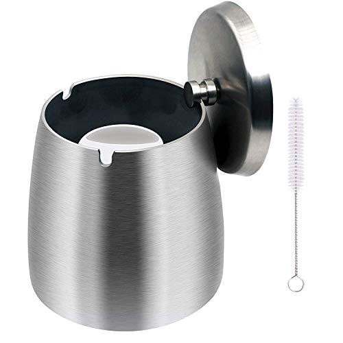 KAKETE 灰皿 ふた付き 大容量 ステンレス 密閉 卓上 屋外 はいざら(改良版)