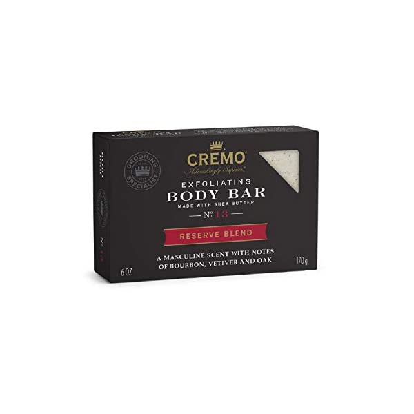 Cremo Exfoliating Reserve Blend Body Bar, An Elevated Blend with Notes of Kentucky Bourbon, Smoked Vetiver and American… 1