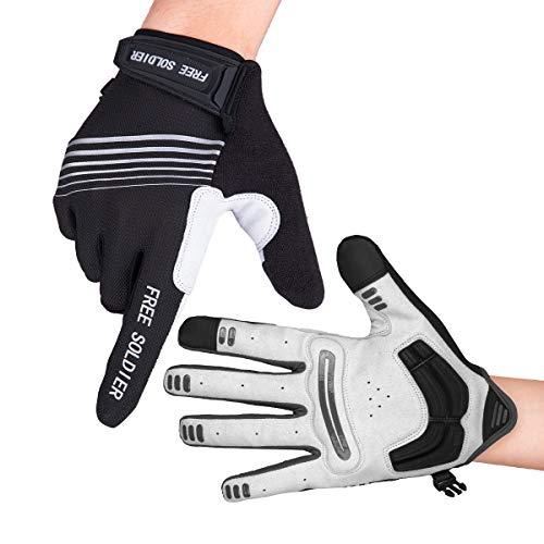 FREE SOLDIER Herren Voll/Halbfinger Fahrradhandschuhe Atmungsaktive rutschfeste MTB Handschuhe für das Fitnessstudio Reiten Motorrad Mountainbike BMX Rennrad Outdoor Sport(Voller Finger/Schwarz,M)