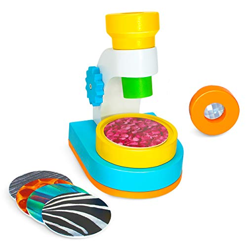 Microscope Kit for Kids | Children's Wooden Science Kit Microscope with 2 Viewing Lenses and 10 Picture Slides | Educational STEM Toys for Toddlers and Kids Ages 3+