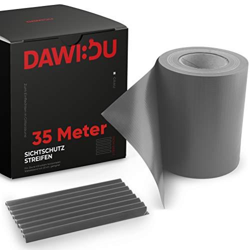 DAWIDU Zaun Sichtschutzstreifen für Doppelstabmatten 35m x 19cm + 26 Clips - Premium Wind- & Sichtschutz Gartenzaun Grau - Einfache Montage & langlebiger Schutz