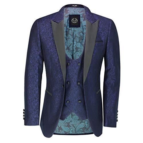 Xposed Herren Retro Damast Print Dinner Suit Jacke Black Peak Revers Tailored Fit Smoking Blazer & Weste Gr. 56 EU, Blazer-Waiscoat-blau