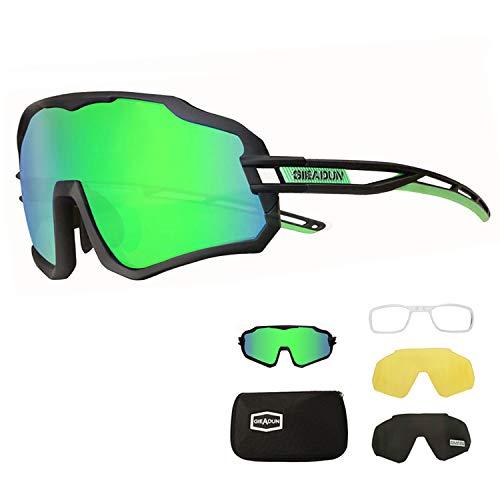 BRZSACR Polarizzati Occhiali Ciclismo 3 Lenti intercambiabili, Occhiali da Sole Sportivi polarizzati per Uomo e Donna Antivento Anti-UV 400 Protezione per Bicicletta/Corsa /Baseball/Moto