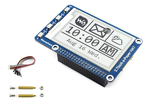 Waveshare 264x176 Resolution 2.7 inch e-Paper Display Hat E-Ink Screen LCD Module SPI Interface with Embedded Controller for Raspberry Pi 2B 3B 3B+ 4B Zero Zero W/Arduino/STM32/Jetson Nano