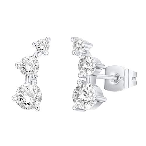 PAVOI 14K Gold Plated Sterling Silver Post Mini Constellation White Gold Cubic Zirconia Ear Crawler...