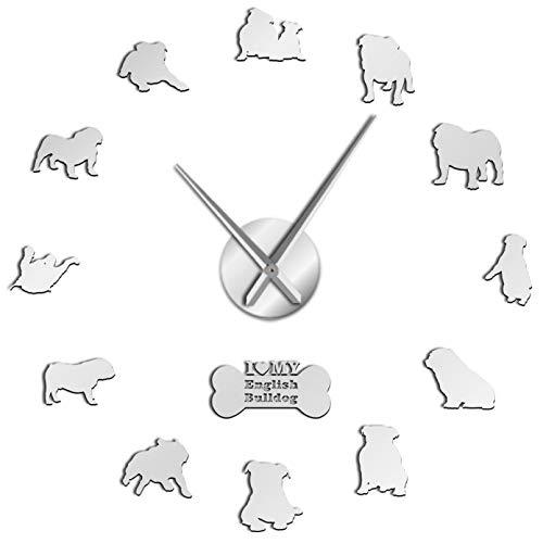 YQMJLF Reloj Pared DIY 3D Grande Reloj de Pared silencioso sin Marco 3D Bulldog, Siluetas de Bulldog británico, Arte de Pared, Reloj Grande DIY, Relojes, Regalo para Amantes del Perro Plata
