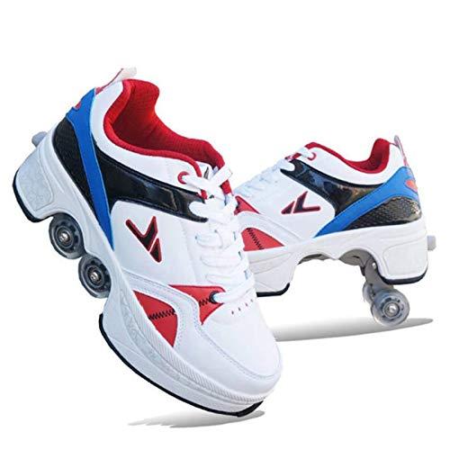SHANGN Patín En Línea, Zapatos De Patines Cuádruples, Zapatos Multifuncionales 2 En 1, Patines con Ruedas Ajustables Y Patinaje sobre Ruedas Divertido para Niños,Blue-38