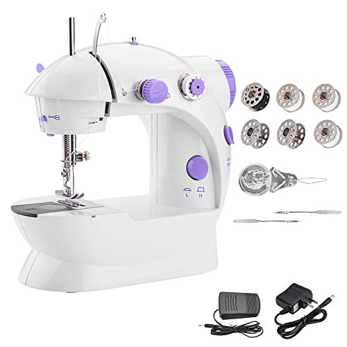Portable Sewing Machine WADEO Mini Sewing Machine with Adjustable 2-Speed Double Thread Electric Crafting Mending Machine with Cutter and Foot Pedal for Household, Travel, Double Use for Power