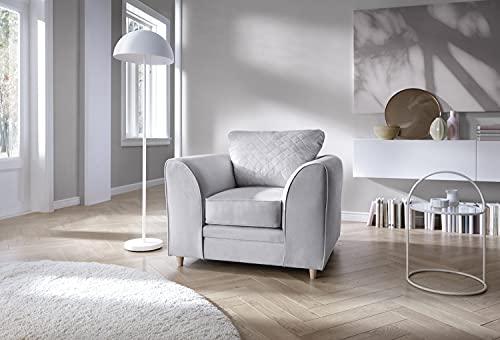 Abakus Direct Chicago Ecksofa rechts oder links in Hellgrau, leicht zu reinigender Samtstoff (Sessel)