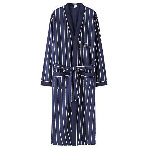 GNLIAN HUAHUA Homewear Algodón de Primavera y otoño Pijama de los Hombres de Gran tamaño Melena Mediana Japonesa baño de los Hombres de Albornoces, XXL Vendaje (Size : Click to Select XXXL)