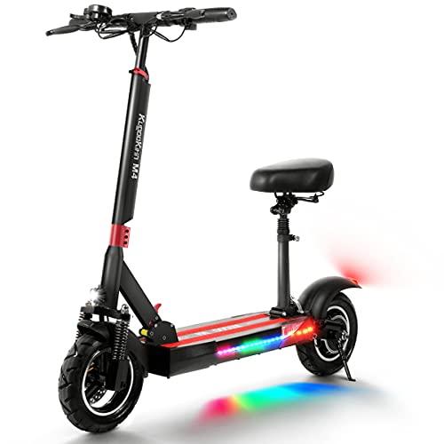 urbetter Patinete Electrico Adulto, Scooter eléctrico Plegable, Pantalla LCD 10AH 500W, neumáticos de 10 Pulgadas, equipados con Asientos y Luces LED para Scooters eléctricos para Adultos - M4
