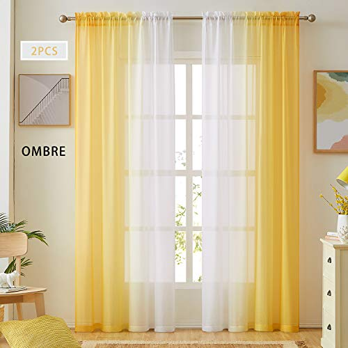 Ombre Faux Linen Sheer Curtains for Bedroom Living Room Rod Pocket, Privacy and Light Filtering, 2 Tone Reversible Gradient Voile Semi Window Curtains, Set of 2 Panels, Yellow, 54 x 96 Inch Length