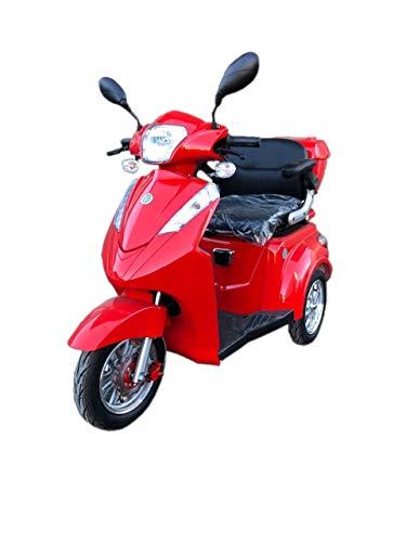 E- Rider TMM 2 Seniorenmobil Seniorenfahrzeug Dreirad ElektroRoller E-Scooter Elektromobil 25 km/h 1000W 3 Rad Farbe Rot