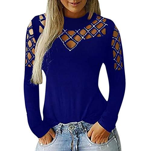 Damen Langarmshirt Sexy Cut Out Loch Schulterfrei Oberteile Party Kostüm Piebo Frauen Bluse Elegante Hemd Blusen Shirt Vintage Tunika T-Shirt Top Hippie Punk Gothic Strass Spitze Hohl Streetwear