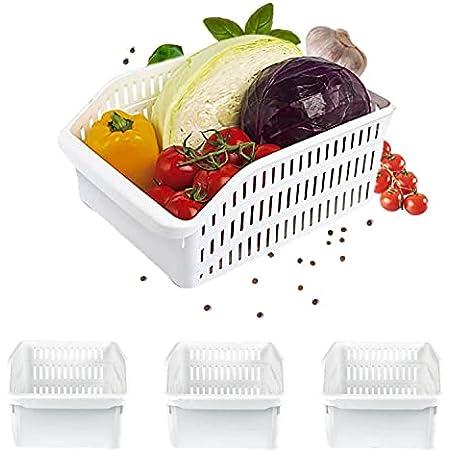 Homelife - Lot de 3 Bacs de Rangement Réfrigérateur FRIMAX - Blanc pour refrigerateur Tiroir Organisateur Panier legumes Frigo Congélateur Robuste Boite Cuisine Nettoyage (Grand)
