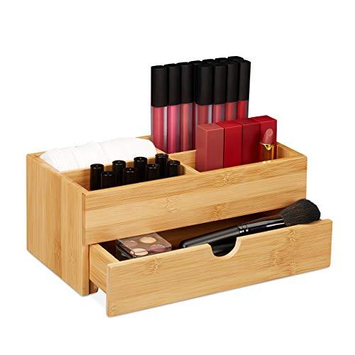 Relaxdays Bambus Kosmetik Organizer, multifunktional, 4 Fächer & Schublade, Schmuckkästchen, Ordnungsbox Büro, natur