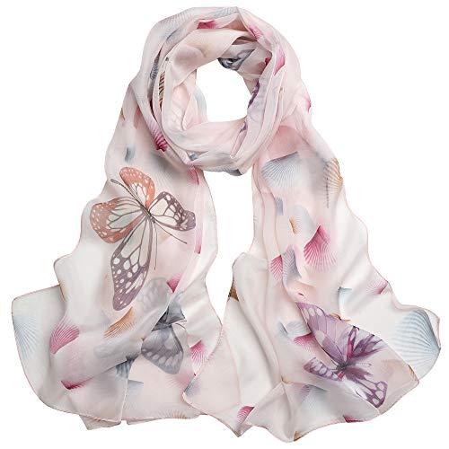Seidenschal Damen 100% Seide Schal Tuch Leicht Seidentuch Hautfreundlich Geschenk für Frauen 175 X 65cm (Rosa Schmetterling) MEHRWEG