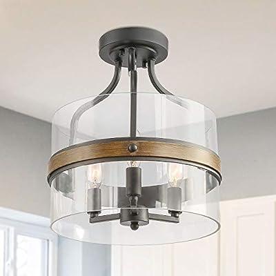 LALUZ Faux Wood Ring Ceiling Light Fixture, Modern Semi Flush Mount Ceiling Light, Farmhouse Drum Chandelier, 3 Lights for Bathroom, Bedroom, Kitchen, Living Room, Dining Room
