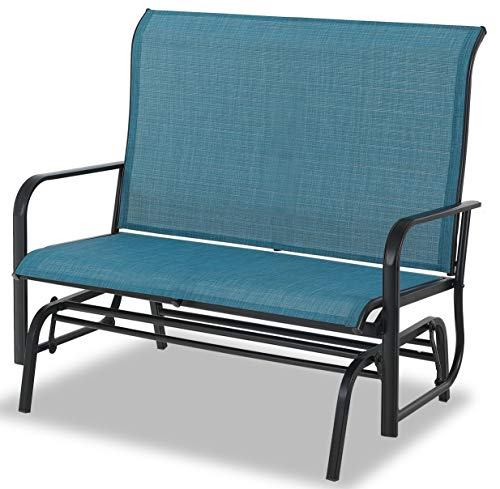 Sophia & William Patio Glider Rocking Chair for 2 Person, Outdoor Swing Love Seat Rocker Chair Bench of Sling Fabric and Power Coating Metal Frame for Porch, Balcony, Backyard