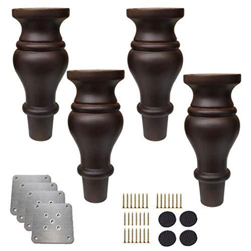 WYFX Patas de Mesa de Centro, Paquete de 4 Patas de Madera para Muebles, Patas de moño de Repuesto con Forma de Calabaza de Madera Maciza, Patas de sofá Antiguas, para gabinet