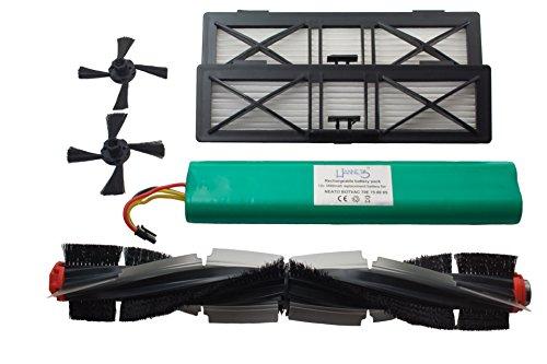 Hochwertiges Hannets Ersatzset kompatibel mit Neato Botvac, Akku, Bürsten und 2 Filter I Botvac Serie Saugroboter Ersatzakku 12V Set Nr. NBV-1RB-2UF-2SB-Akku