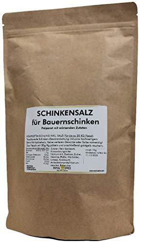 Royal Spice Schinkensalz für Bauernschinken - Fertige Gewürzmischung mit Pökelsalz zum Schinken machen - 1kg für 20 Kg Fleisch - Einfache Anwendung & Ausgezeichneter Geschmack
