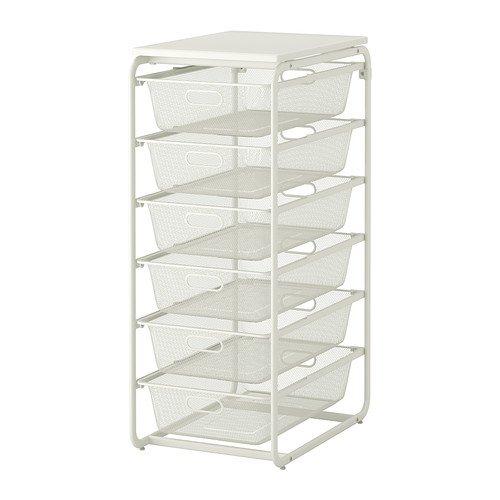 IKEA(イケア) ALGOT フレーム メッシュバスケット6個 トップシェルフ ホワイト