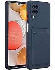 Molg Hoesje voor Samsung Galaxy A12 5G [Screen Protector] Ultradunne Zachte TPU Siliconen Shock Proof Bumperafdekking Met Kaartsleuf Beschermhoesje-Marineblauw