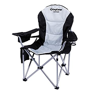KingCamp Folding Quad Chair Lumbar Back Support Oversized Padded Stable Portable Deluxe with Cooler and Armrest for Camping, Carry Bag Included