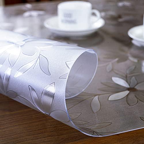 Manteles Transparente Plástico Protector de Cubierta de Mesa Transparente Rectangular, Mantel de Flores de Plástico de Vinilo Transparente, Impermeable / Anti-quemaduras / a Prueba de Aceite, Limpieza