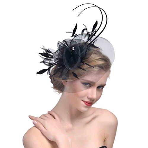 Yujeet Moda De Mujer Transparente Sombreros Y Tocados Completo Floral Forma Pluma Hecha A Mano Novia Headwear Para La Boda Cocktail Party Negro One Size