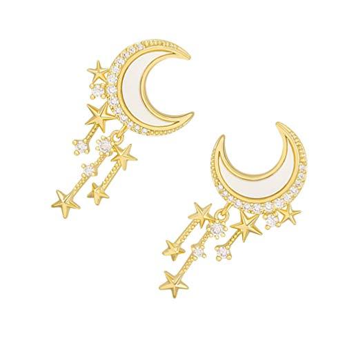 VALICLUD 1 par de Pendientes de Estrella 925 Pendientes de Plata de Ley con Borla de Diamantes de Imitación Pendientes de Oreja para Mujer Niñas de Oro