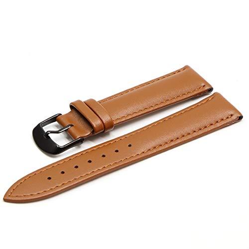 Beapet 16 mm 18 mm 20 mm 22 mm Pulsera de Cuero marrón de 24 mm con Pulsera de Hebilla de Oro Rosa (Color : Light Brown BK, Size : 20mm)