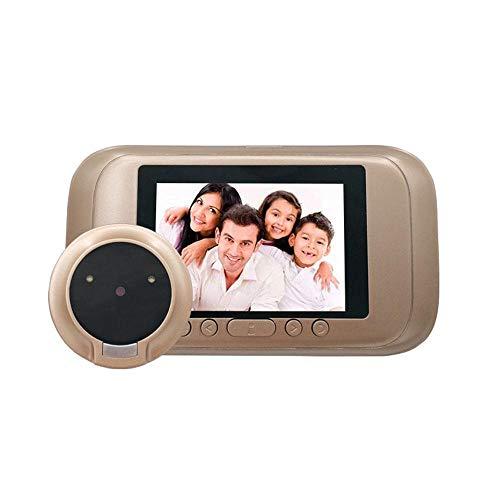 Visor de puerta digital con orificio para mira, cámara de seguridad con sensor de movimiento y registro de visitantes digital, ángulo de 90 grados, grabación de vídeo y fotografía