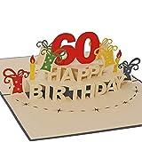 Favour Pop Up Glückwunschkarte zum runden 60. Geburtstag. Ein filigranes Kunstwerk, das sich beim Öffnen als Geburtstagstorte entfaltet. ALTA60B