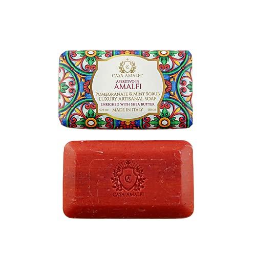 CASA AMALFI - Saponetta Solida Luxury Artigianale con Burro di Karitè, Sapone 100% Ingredienti Naturali e Vegani, Plastic free (Aperitivo in Amalfi)