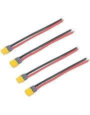 FancyWhoop 2 pares XT60 Conector Macho Hembra Con Funda Conector Con 150mm 12AWG Cable de Silicona para RC Lipo Drone FPV de Batería (XT60 Conector Hembra-Macho)