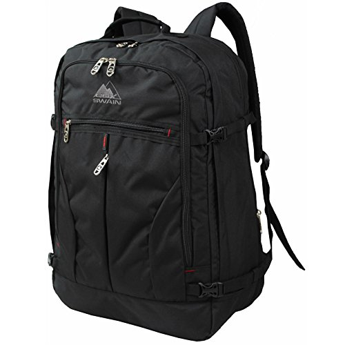 Cox Swain Hand Luggage Airplane Certified Backpack - All Airlines 55x40x20cm + Volume Expansion, Colour: Black