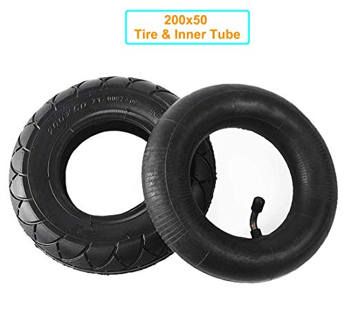 200X50 Tire & Inner Tube Set Replacement Electric Scooter Razor E100, E150, E200, Power Core E100, Dune Buggy, ePunk, Crazy Cart, PowerRider 360, eSpark with 8 Inch Universal Tire & Inner