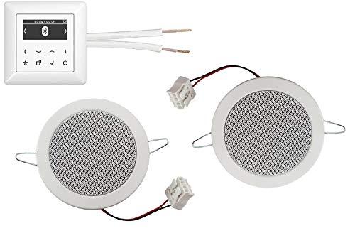 JUNG DAB + Radio digital y Bluetooth – Radio empotrada (radio) DABABTWW blanco brillante juego completo + 2 altavoces de techo empotrables blanco + 20 m de cable de altavoz