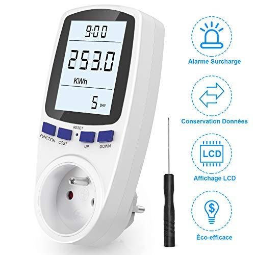 Gifort Wattmètre Prise, Compteur d'énergie AC 185V ~ 264V Compteur de consommation d'énergie, Prise de Moniteur d'utilisation de l'électricité avec écran LCD (Tarif Unique)