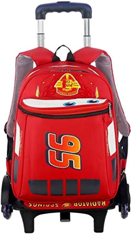 Qpsb Neue Schüler Trolley Tasche Herren McQueen Kinderrucksack 2019 Explosionsmodelle Dreirad Tasche (Farbe   red, Ausgabe   Two Rounds)