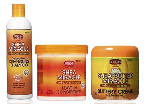 African Pride, Shea Miracle - Set con shampoo districante per capelli da 355 ml, balsamo senza risciacquo da 425 g, burro di crema idratante per capelli da 170 g