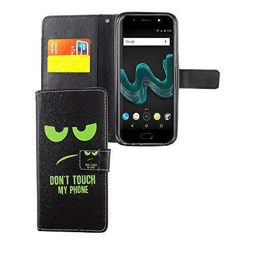 König Design Handyhülle Kompatibel mit Wiko Wim Handytasche Schutzhülle Tasche Flip Hülle mit Kreditkartenfächern - Don't Touch My Phone Grün Schwarz