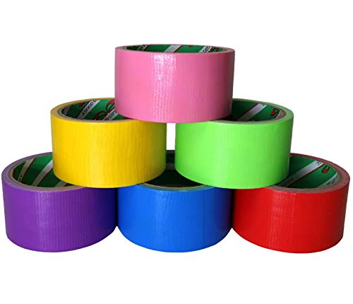 GIFTEXPRESS 6 Assorted Colored Duct Tapes - Multi Purposes Bright Colors Tapes Great for DIY Art Home School Office Assorted Colors 2