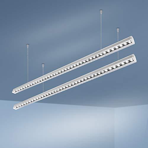 OOWOLF 2 Packs 30W 3200lm Lámpara Colgante LED, Colgante de Luz LED Supermercado, 6000K Blanca Frio, Lámpara de Techo Altura Regulables Para Mesa Oficina, Comedor, Fábrica, Centros Comerciales, Sala