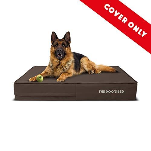 Nur Ersatzbezug (nur Außenbezug – kein Bett, keine wasserdichte Innenseite) für das Hundebett, waschbarer Oxford-Stoff, groß, 101,6 x 63,5 x 15,2 cm, Braun mit braunem Rand